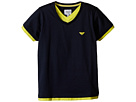 Navy Tee with Contrast Yellow Trim (Toddler/Little Kids/Big Kids)