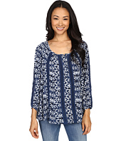 Lucky Brand - Printed Knit and Lace Top