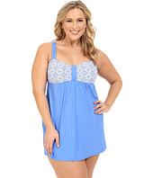 Athena - Plus Size Santorini Molded Cup Swim Dress w/ Hidden Hook and Eye Tail One-Piece