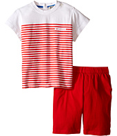 Armani Junior - T-Shirt with Red Stripes and Red Shorts (Infant)