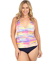 LAUREN Ralph Lauren - Plus Size Summer Tie-Dye Stripe Halterkini w/ Removable Cups Slimming Fit