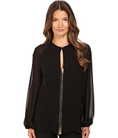 Versace Collection - Blouse with Gold Embellished Front V-Neck