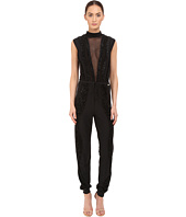 Just Cavalli - Knit Jumpsuit with Sheer Panel and Lurex Trim