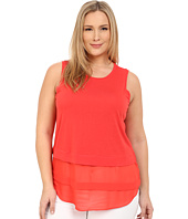 MICHAEL Michael Kors - Plus Size Sleeveless Crew Woven Mix Top