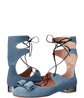 Salvatore Ferragamo - Denim Lace Up Closed-Toe Sandal With Vara Bow