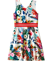 Us Angels - Printed Pique V-Neck Tank Dress w/ Flare Skirt (Big Kids)