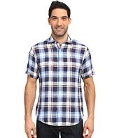 BUGATCHI - Dunes Shaped Fit Short Sleeve Linen Shirt