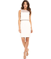 Aidan Mattox - Illusion Two-Piece Crop Top Dress with Lace Yoke and Waist Detail