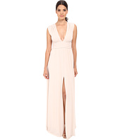 Halston Heritage - Sleeveless V-Neck Jersey Gown with Wrap Tie & Front Slit