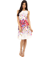 Donna Morgan - Sleeveless Twill Fit and Flare with Floral Print and Full Skirt