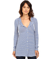 Mod-o-doc - Linen Knit Stripe Cover-Up Long Sleeve Hoodie