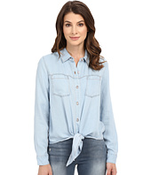 7 For All Mankind - Tie Front Denim Shirt in Ibiza Clear Blue