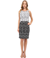 Vince Camuto - Sleeveless Graphic Strip Fan Popover Dress