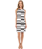 Vince Camuto - Sleeveless Graphic Stagger Stripe Shift Dress