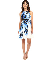 Adrianna Papell - Halter Neck Fit & Flare Palm Print Dress