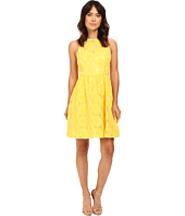 Adrianna Papell - Embroidered Fit & Flare w/ Illusion Neckline Dress