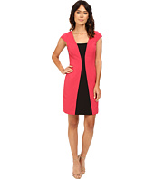 Adrianna Papell - Short Sleeve A-Line Color Block Dress