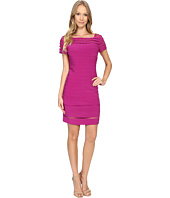 Adrianna Papell - Bateau Neck Dress w/ Gradiating Seams