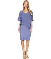 Adrianna Papell - Layered Chiffon Caplet Band Matter Jersey Dress