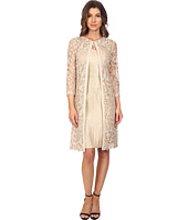 Adrianna Papell - Lace Yoke Shimmer Sheath & Jacket