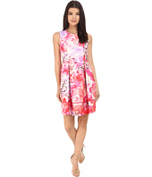 Vince Camuto - Printed Twill Sleeveless Fit and Flare Dress with Seam Detail on Skirt