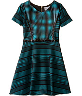 Us Angels - Short Sleeve Bonded Scuba Dress w/ Pleather Inset & Flare Skirt (Big Kids)
