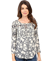 Lucky Brand - Printed Mixed Trim Top