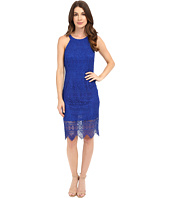 Laundry by Shelli Segal - Salem Stripe Lace Cutaway Short Dress with Scalloped Hem
