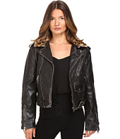 Just Cavalli - Leather Moto Zip with Cat Accent Runway Jacket