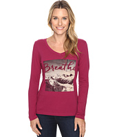 Life is Good - Breathe Mountain Photo Long Sleeve Pocket Tee