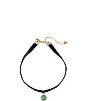 Vanessa Mooney - Black Velvet Choker with Small Circle Turquoise Charm Necklace