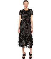 Marchesa - Tulle Cocktail with Gunmetal and Jet 3D Feather Flower Embroidery