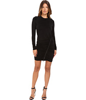 The Kooples - Long Sleeve Dress Round Neck Zip Along the Skirt