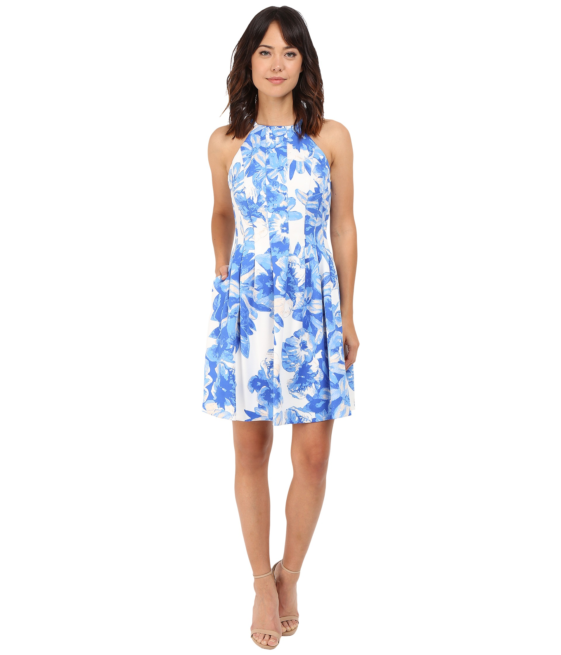vince camuto printed scuba halter fit flare dress