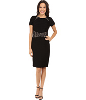 NUE by Shani - Ottoman Knit Dress w/ Lace Inset at Waist and Shoulder Detail