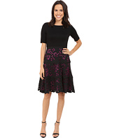 NUE by Shani - Knit Bodice Dress w/ Laser Cutting Fit and Flare Skirt