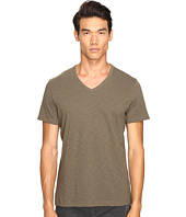 Vince - Slub Cotton Short Sleeve Relaxed V-Neck
