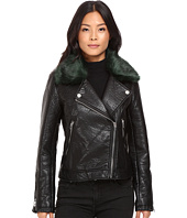 Blank NYC - Vegan Leather Removable Green Faux Fur Collar in Speaking Terms