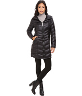 Calvin Klein - Long Hooded Packable Down with Waist Detail