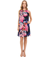 Vince Camuto - Printed Chiffon Overlay Underdress with Binding & Pleat