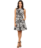 Adrianna Papell - Lined Antique Elegance Printed Faille Fit and Flare Dress