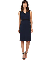 Adrianna Papell - Color Contrast Stretch Crepe V-Neck Sheath Dress