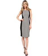 Adrianna Papell - Ikat Dot Jacquard Blocked Sheath Dress