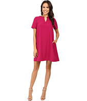Adrianna Papell - Split-Neck Shift Dress w/ Elbow Sleeve