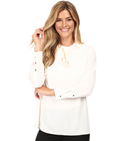Vince Camuto - Long Sleeve Tie Neck Pleated Tuxedo Blouse