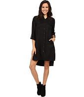 Blank NYC - Long Black Button Down Dress Shirt in Night Life