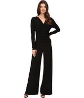 KAMALIKULTURE by Norma Kamali - V-Neck Long Sleeve Shirred Waist Jumpsuit