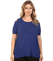 Vince Camuto Specialty Size - Plus Size Stripe Pulse Cold-Shoulder Top