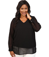 Vince Camuto Specialty Size - Plus Size Long Sleeve Shirttail V-Neck Blouse with Knit Underlay