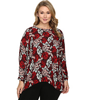 Vince Camuto Specialty Size - Plus Size Long Sleeve Woodland Floral High-Low Blouse